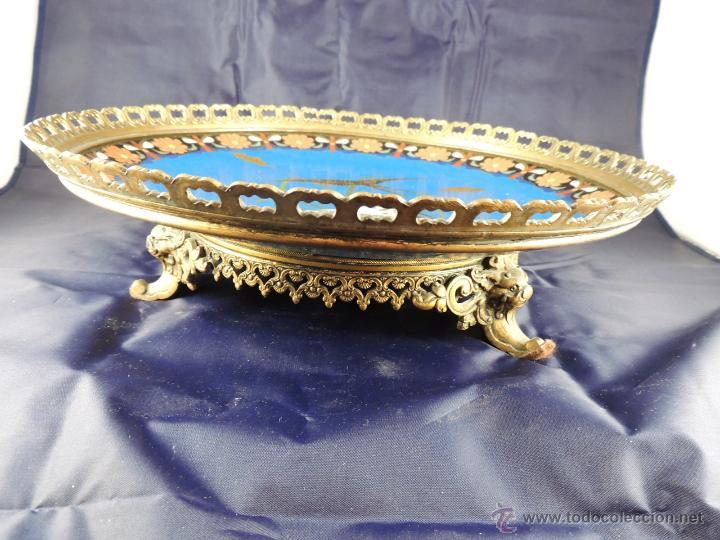 Antigüedades: CENTRO CLOISONNE ANTIGUO ENGARZADO EN BRONCE - Foto 2 - 52947459