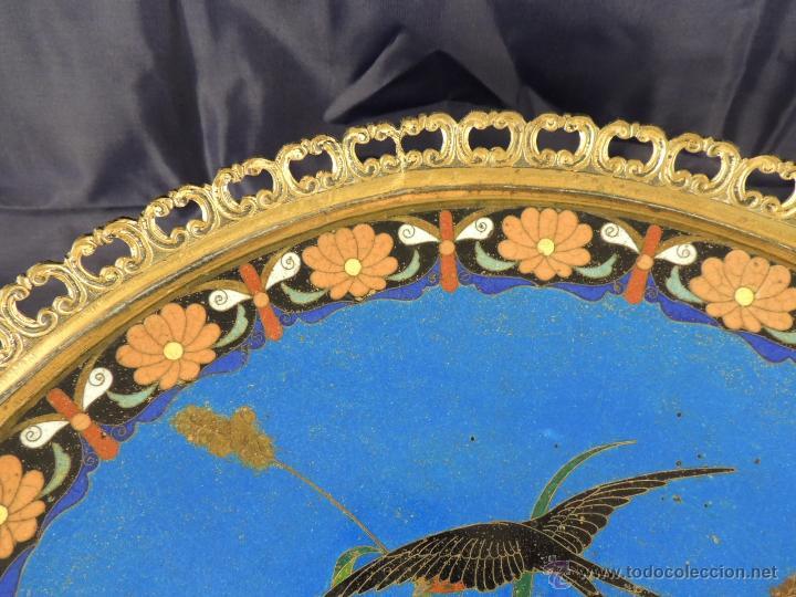 Antigüedades: CENTRO CLOISONNE ANTIGUO ENGARZADO EN BRONCE - Foto 5 - 52947459
