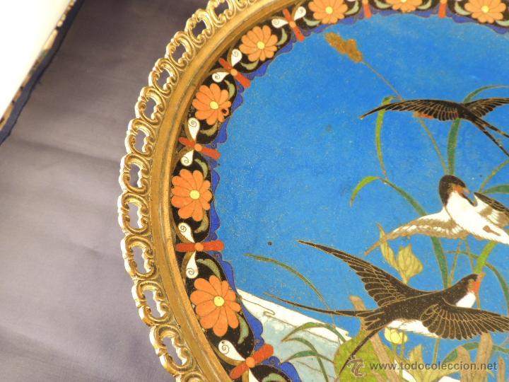 Antigüedades: CENTRO CLOISONNE ANTIGUO ENGARZADO EN BRONCE - Foto 6 - 52947459