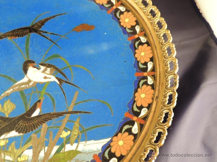 Antigüedades: CENTRO CLOISONNE ANTIGUO ENGARZADO EN BRONCE - Foto 7 - 52947459