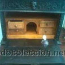 Antigüedades: ANTIGUO BARGUEÑO TALLAS MAGNIFICAS OBRA DE ARTE CAJONES Y LLAVE SGLO XVIII. Lote 52948120