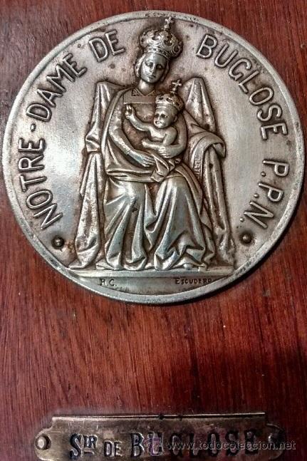 Antigüedades: ANTIGUA BENDITERA RELIGIOSA CON LA VIRGEN NOTRE DAME D BUGLOSE PROCEDENTE DE FRANCIA AÑOS 30 FIRMADA - Foto 2 - 52959040