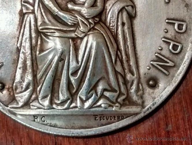 Antigüedades: ANTIGUA BENDITERA RELIGIOSA CON LA VIRGEN NOTRE DAME D BUGLOSE PROCEDENTE DE FRANCIA AÑOS 30 FIRMADA - Foto 3 - 52959040