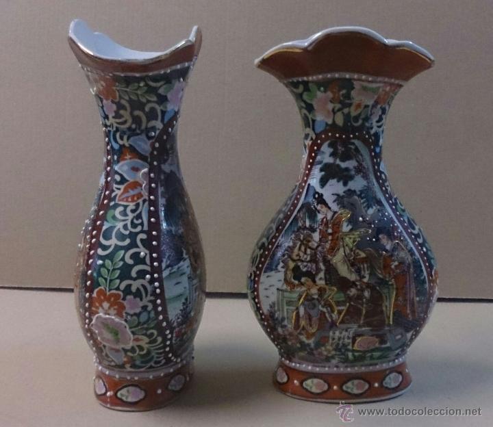 PAREJA DE JARRONES SATSUMA (Antigüedades - Hogar y Decoración - Jarrones Antiguos)