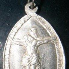 Antigüedades: ESCAPULARIO CRISTO DE LAS MISERICORDIAS Y SANTA MARIA DE LA RABIDA EN PLATA DE LEY -23X36MM. Lote 52967685