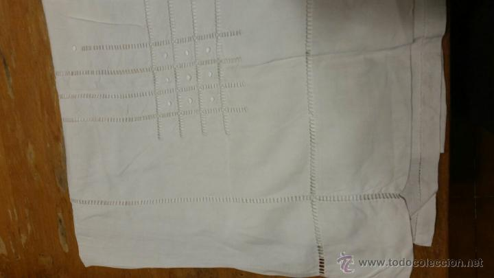 Antigüedades: Antigua sábana de lino bordada francés. 240x300 - Foto 3 - 52967585