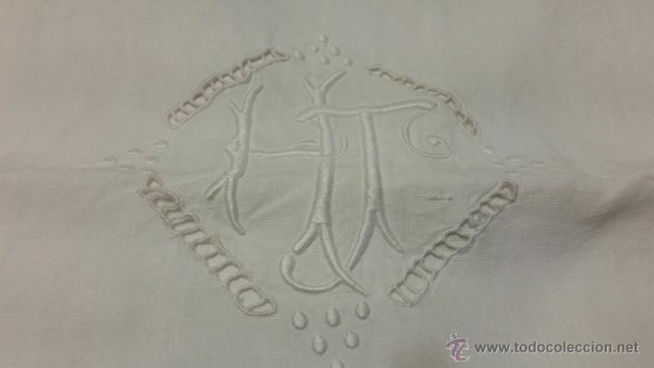 Antigüedades: Antigua sábana de lino bordada francés. 240x300 - Foto 5 - 52967585