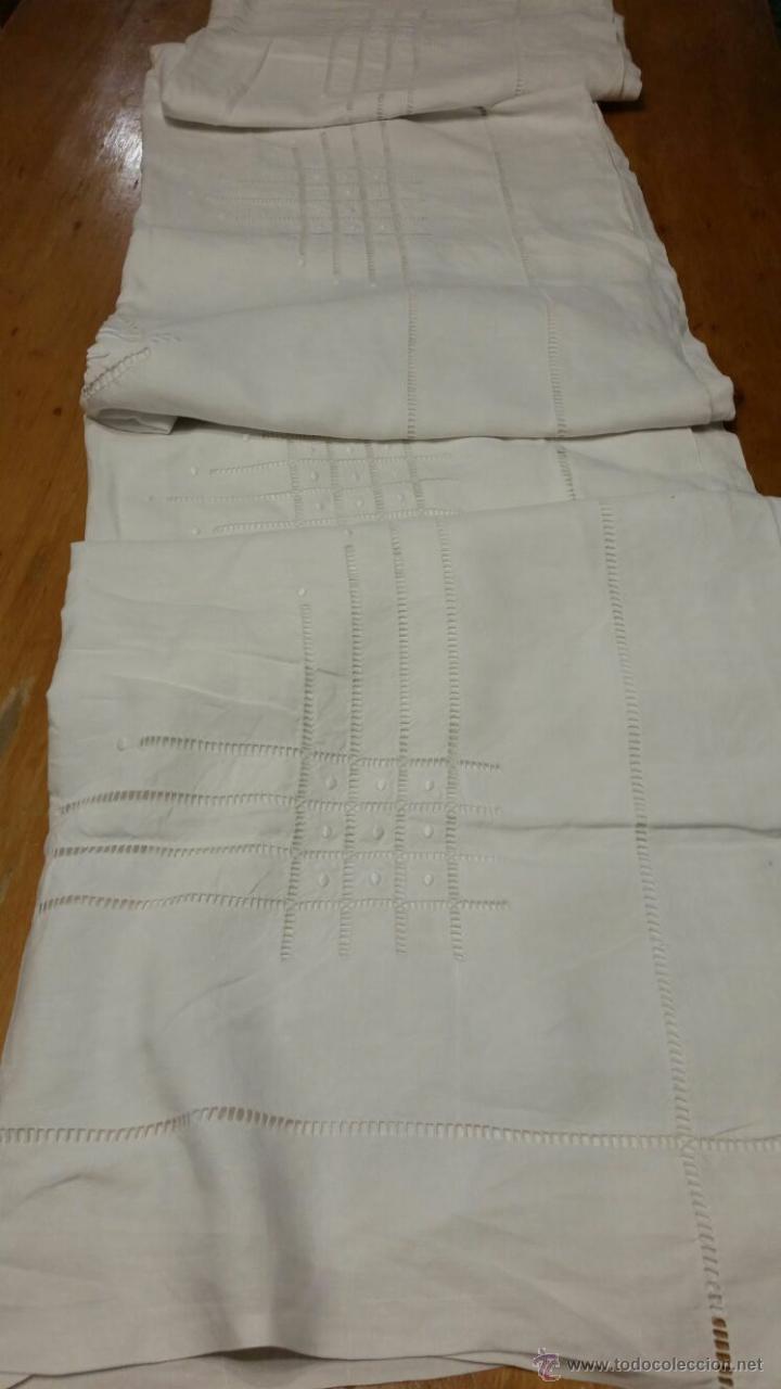 Antigüedades: Antigua sábana de lino bordada francés. 240x300 - Foto 8 - 52967585