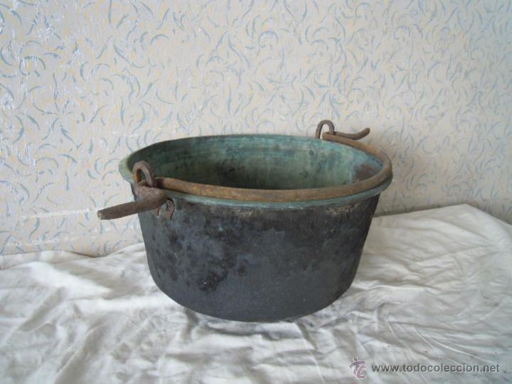 Antigüedades: CALDERO DE COBRE CON ASA DE HIERRO FORJADO - Foto 7 - 52926150