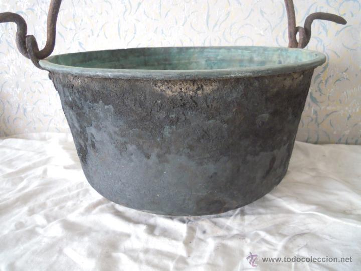 Antigüedades: CALDERO DE COBRE CON ASA DE HIERRO FORJADO - Foto 10 - 52926150