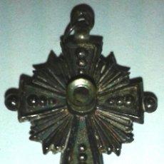 Antigüedades: CRUZ DE PLATA CON VISOR VIRGEN DEL PILAR S-XIX -SILVER CROSS WITH VISOR V.PILAR . Lote 52973039