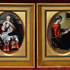Antigüedades: PAREJA DE PORCELANAS PINTADAS DE ALGORA SEGÚN OBRA DE NICOLAES MAES (1634 -1693). Lote 52978672