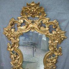 Antigüedades: ESPEJO DE MADERA TALLADA Y DORADA. ESPAÑA S. XIX. Lote 52981315