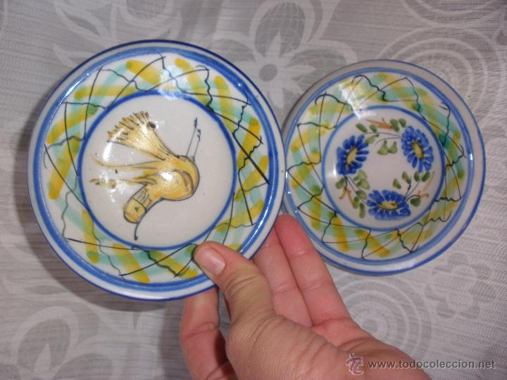 PLATO PEQUEÑOS CUENCOS DE CERÁMICA DE MANISES CON FIRMA MARIA (Antigüedades - Porcelanas y Cerámicas - Manises)