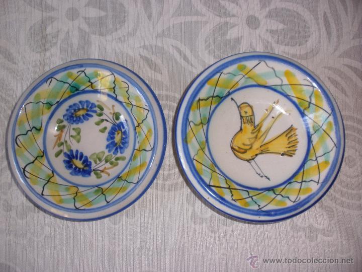 Antigüedades: Plato pequeños cuencos de cerámica de Manises con firma Maria - Foto 3 - 52983037