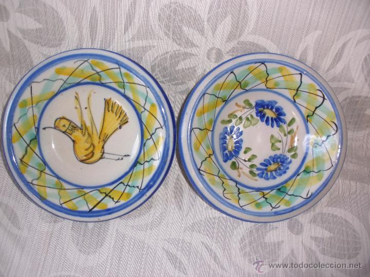 Antigüedades: Plato pequeños cuencos de cerámica de Manises con firma Maria - Foto 4 - 52983037