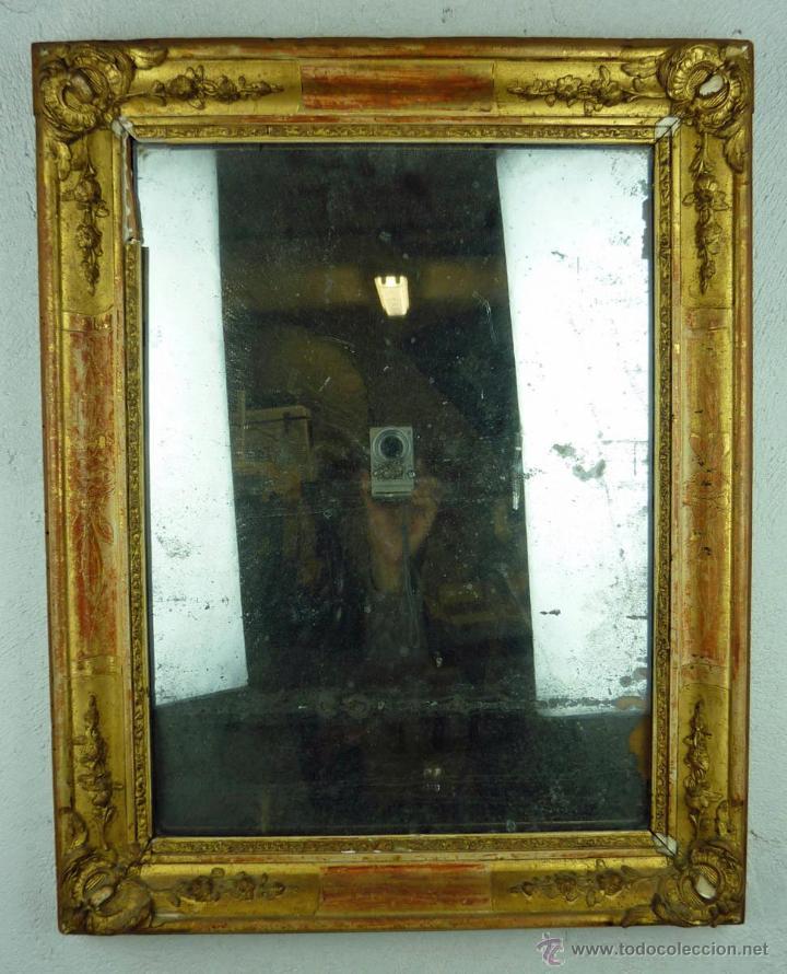 Espejo isabelino con marco dorado de madera tal comprar for Espejo marco dorado