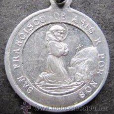 Antigüedades: ESCAPULARIO SAN FRANCISCO DE ASIS - SAN ANTONIO DE PADUA EN PLATA DE LEY -19MM. Lote 53011400