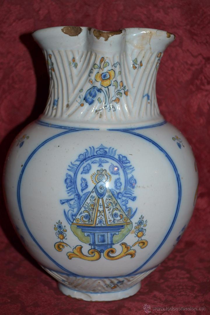 MAGNIFICA JARRA EN CERAMICA DE TALAVERA,RUIZ DE LUNA,CON LA VIRGEN DEL PRADO,PRINCIPIOS DEL S. XX (Antigüedades - Porcelanas y Cerámicas - Talavera)
