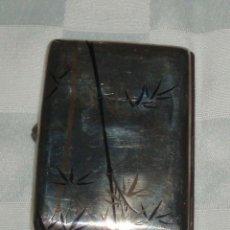 Antigüedades: PITILLERA DE PLATA MODERNISTA,GRABADA MOTIVOS JAPONESES EN ESMALTE ART DECO. Lote 53033061