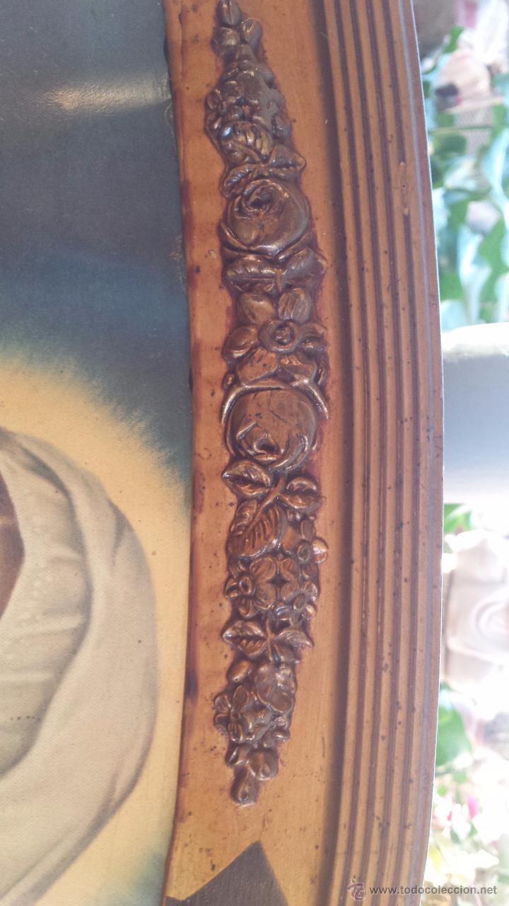 Antigüedades: antiguo marco de madera con litografia religiosa - Foto 6 - 53050726