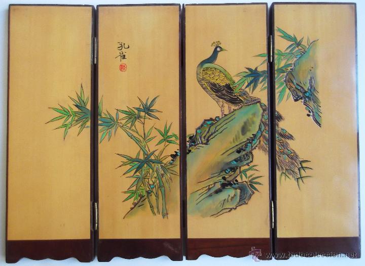 Peque o biombo chino de 4 cuerpos grabado y pi comprar en todocoleccion 53071449 - Biombos chinos antiguos ...