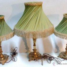 Antigüedades: EQUIPO COMPLETO 3 LAMPARAS BRONCE CON SUS PANTALLAS DE TELA. TODO ORIGINAL. VER DESCRIPCION. Lote 53081073