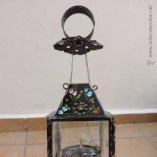 Antiquités: PRECIOSO Y ANTIGUO QUINQUÉ O FAROL PINTADO A MANO CON MOTIVOS FLORALES. Lote 53085127