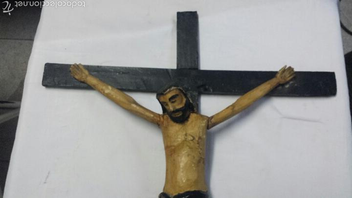 Antigüedades: CRISTO CRUCIFICADO TALLA ARTESANAL EN MADERA EXCLUSIVO - Foto 2 - 53103930