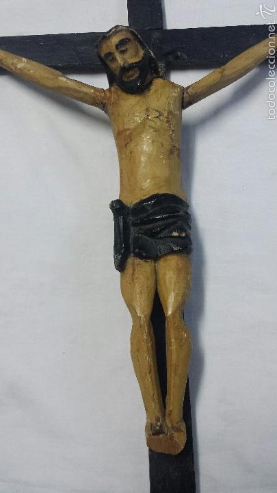 Antigüedades: CRISTO CRUCIFICADO TALLA ARTESANAL EN MADERA EXCLUSIVO - Foto 3 - 53103930