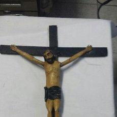 Antigüedades: CRISTO CRUCIFICADO TALLA ARTESANAL EN MADERA EXCLUSIVO. Lote 53103930