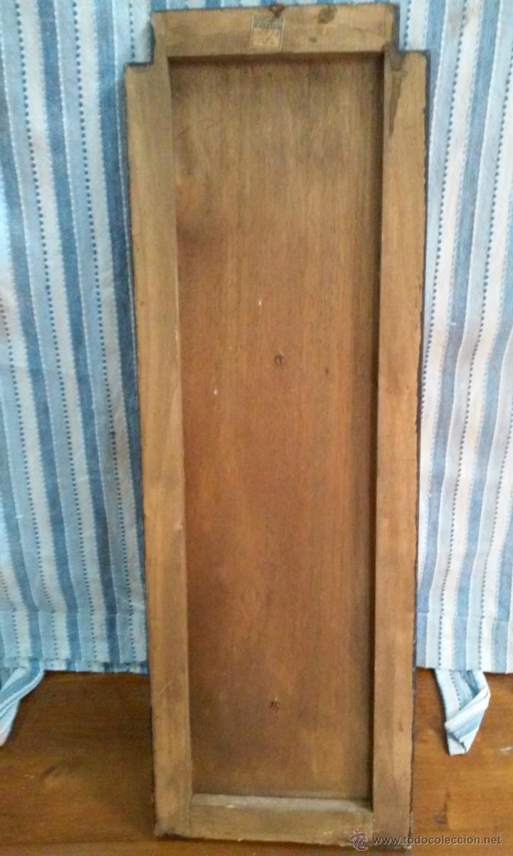 Antigüedades: Antigua Virgen sobre tabla. 60 x 20 centimetros - Foto 2 - 53104850