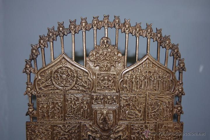 Antigüedades: ANTIGUA CRUZ ORTODOXA EN BRONCE DE 38 CM ALTURA - Foto 2 - 53110755