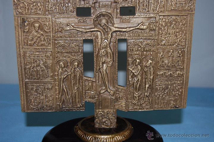 Antigüedades: ANTIGUA CRUZ ORTODOXA EN BRONCE DE 38 CM ALTURA - Foto 4 - 53110755