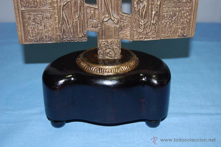 Antigüedades: ANTIGUA CRUZ ORTODOXA EN BRONCE DE 38 CM ALTURA - Foto 5 - 53110755