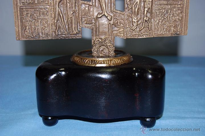 Antigüedades: ANTIGUA CRUZ ORTODOXA EN BRONCE DE 38 CM ALTURA - Foto 8 - 53110755
