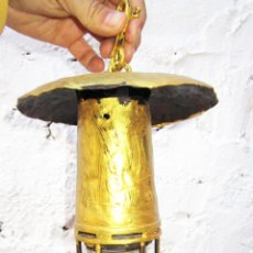 Antiquités: MUY RARO INEDITO LAMPARA MINA MINERO FAROL MUY ANTIGUO EN BRONCE Y CRISTAL. Lote 53116329