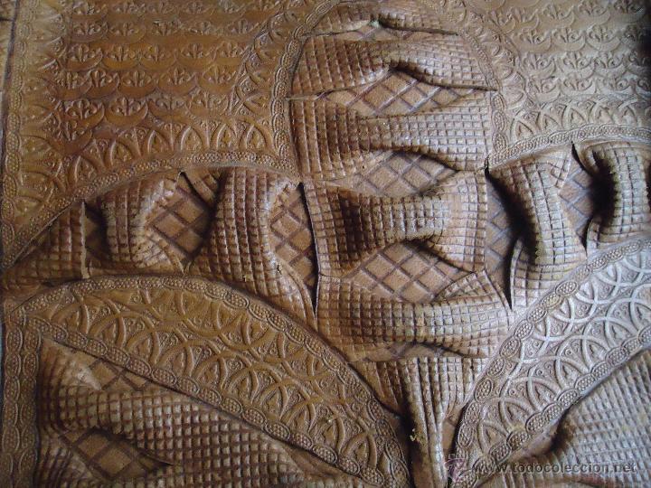 Antigüedades: espectacular bolso labrado señora o caballero cuero repujado trenzado antiguo original ver fotos - Foto 28 - 53119417