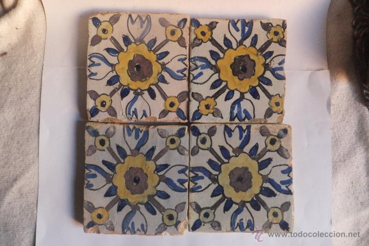 4 azulejos rajola catalanes catalu a con fl comprar - Azulejos con flores ...