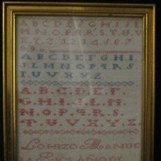 Antiques - ANTIGUO ABECEDARIO BORDADO EN PUNTO DE CRUZ- FECHADO 1863 - 53137883