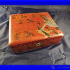 Antigüedades: CAJA CHINA LACADA CON VISTOSOS COLORES. Lote 53137881