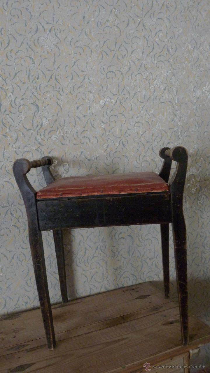 Antigüedades: BANQUETA TAPIZADA. CAJÓN. MADERA EN BUEN ESTADO - Foto 2 - 53156814
