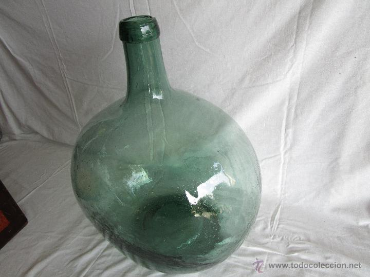 Antigüedades: antigua damajuana botella cristal soplado dentro de molde 42 cm x 34 cm - Foto 2 - 53160526