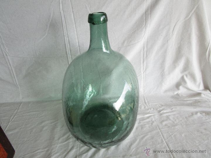 Antigüedades: antigua damajuana botella cristal soplado dentro de molde 42 cm x 34 cm - Foto 3 - 53160526