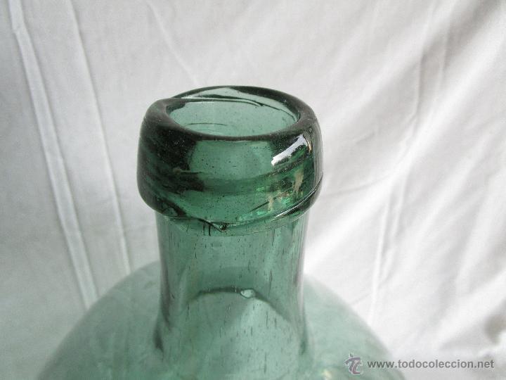Antigüedades: antigua damajuana botella cristal soplado dentro de molde 42 cm x 34 cm - Foto 4 - 53160526