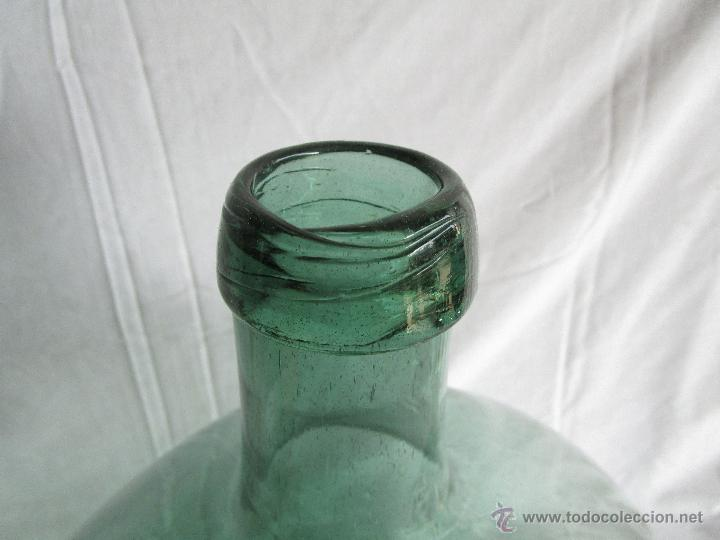 Antigüedades: antigua damajuana botella cristal soplado dentro de molde 42 cm x 34 cm - Foto 5 - 53160526
