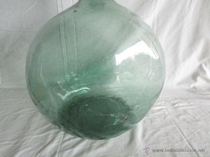 Antigüedades: antigua damajuana botella cristal soplado dentro de molde 42 cm x 34 cm - Foto 6 - 53160526
