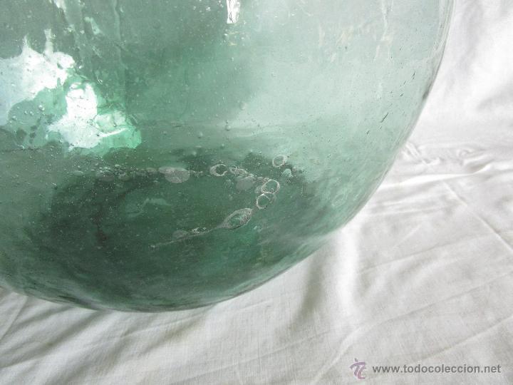 Antigüedades: antigua damajuana botella cristal soplado dentro de molde 42 cm x 34 cm - Foto 7 - 53160526