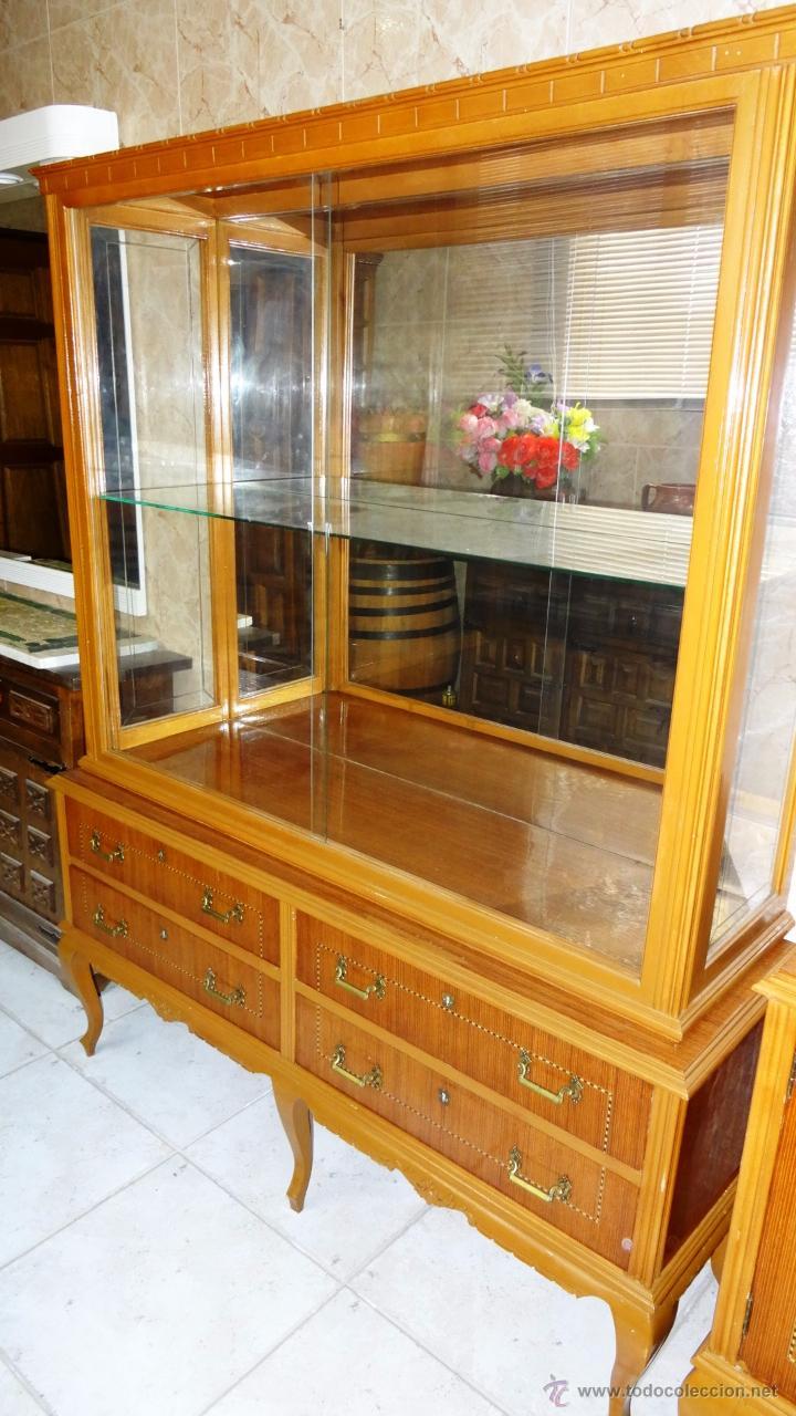 Antigüedades: Conjunto 3 muebles Comoda y vitrina alacena - Foto 2 - 53163795