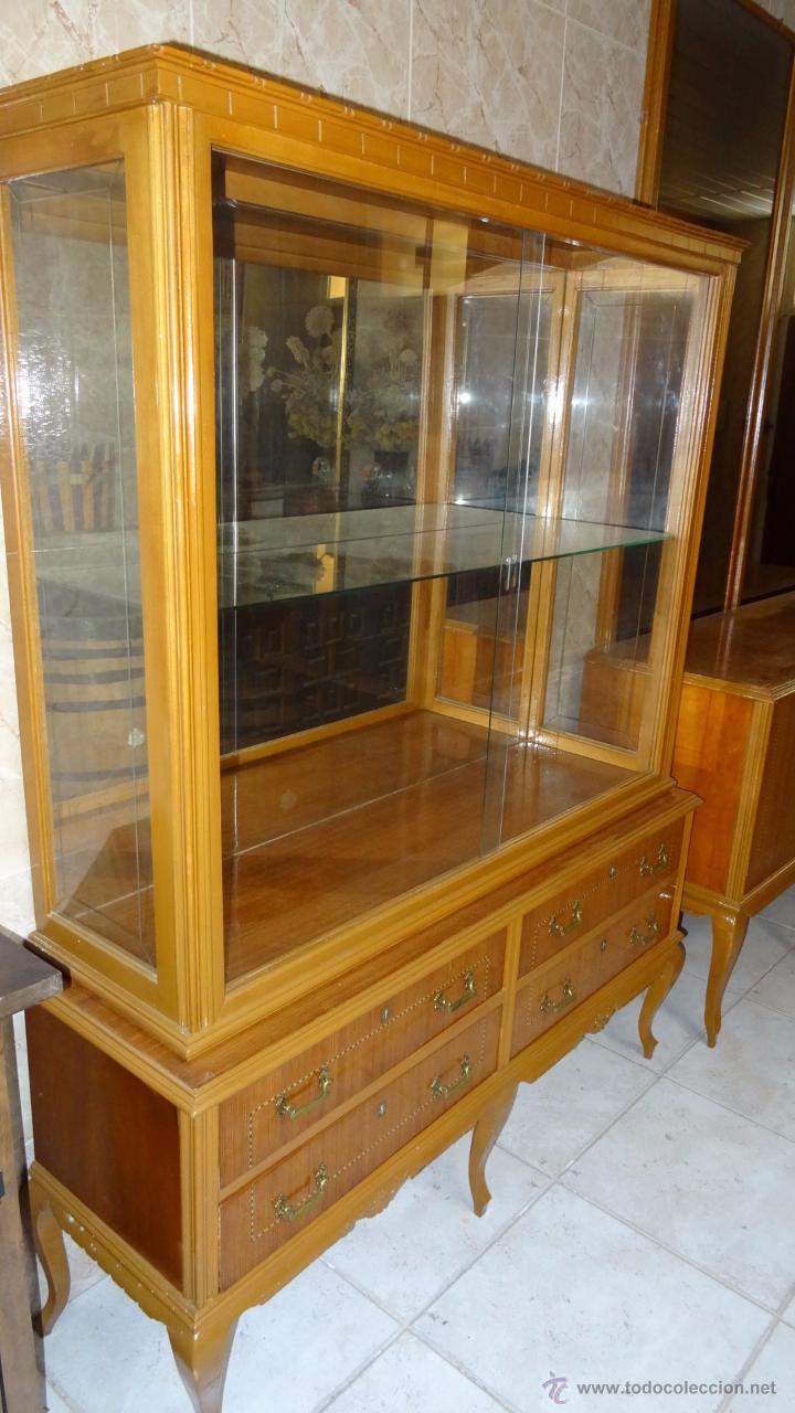Antigüedades: Conjunto 3 muebles Comoda y vitrina alacena - Foto 3 - 53163795